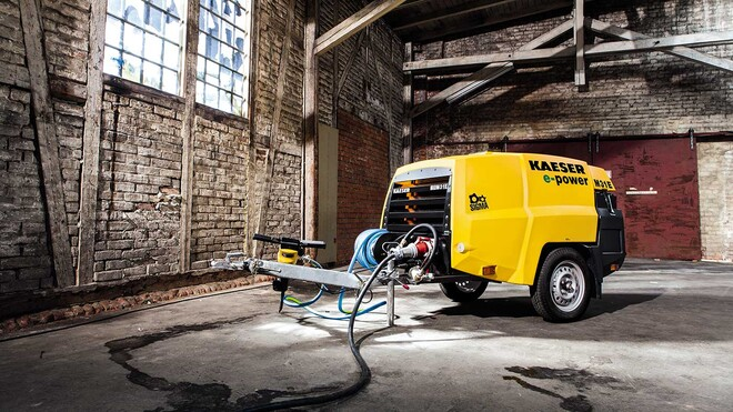 Road-going M31E portable compressor with electric drive from Kaeser Compressors